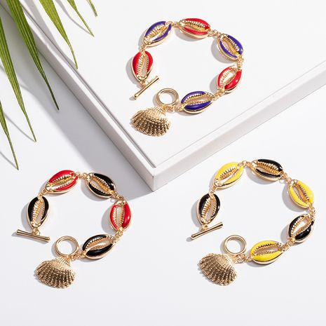 New Fashion alloy Shell Conch Drop Oil Color Bracelet for women NHAI241816's discount tags