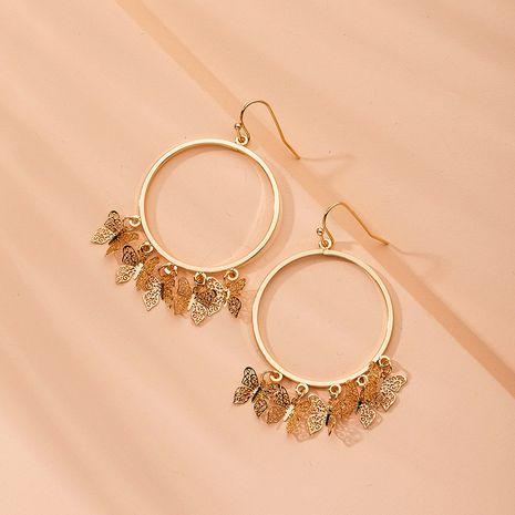 The new butterfly big circle earrings butterfly ear hoop earrings wholesale nihaojewelry NHAI241829's discount tags