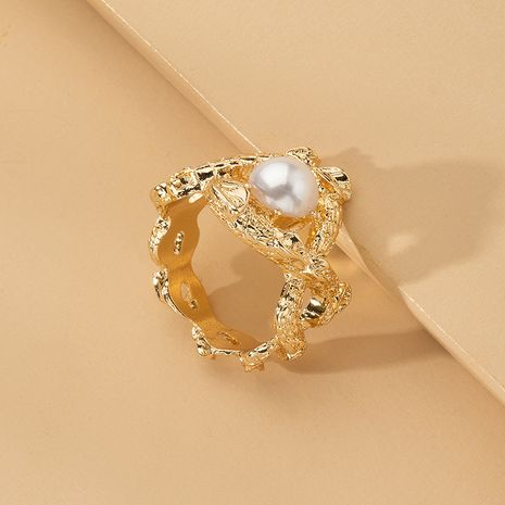 exaggerated pearl ring fashion style metal  ring wholesale nihaojewelry NHAI241831's discount tags