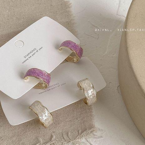 Boucles d'oreilles coréennes demi-cercle C-type rétro sauvage cercle violet pour femme NHXI241841's discount tags