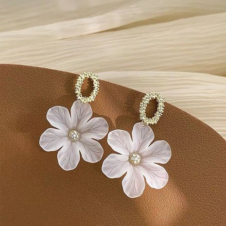 new flower trendy 925 silver needle white petal long fairy alloy earrings NHXI241844's discount tags