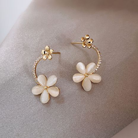 925 Silver Needle Korean Opal Flower Fashion New Trendy alloy Earrings NHXI241848's discount tags