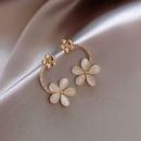 925 Silver Needle Korean Opal Flower Fashion New Trendy alloy Earrings NHXI241848