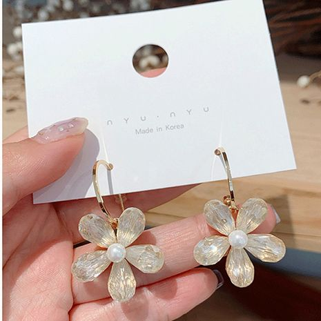 Korea fashion crystal flower girly fashion simple wild earrings wholesale NHXI241849's discount tags