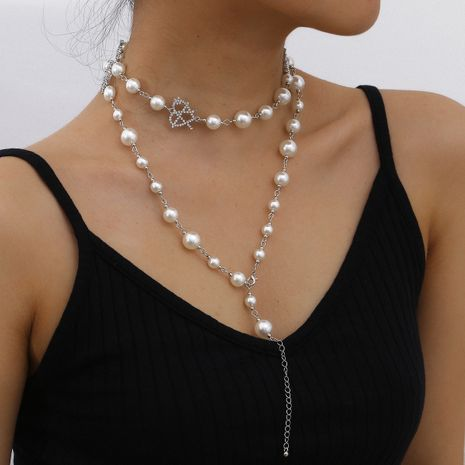 fashion simple multi-layer pearl necklace hollow micro diamond heart-shaped necklace  NHXR241859's discount tags