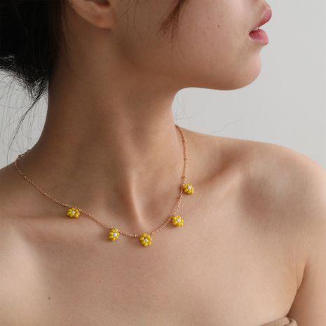 Collier de perles de riz simple et élégant avec fleur de style ethnique rétro NHXR241863's discount tags