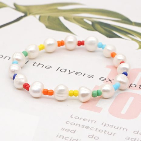 fashion wild bohemian rainbow rice beads niche natural pearl bracelet for women NHGW241867's discount tags