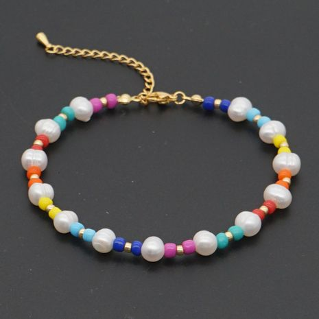 Fashion wild color rice bead anklet natural freshwater pearl beach anklet NHGW241868's discount tags