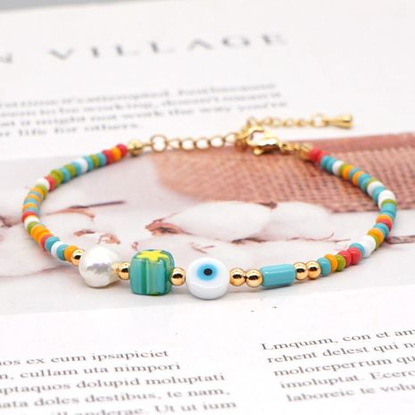fashion niche eyes rainbow rice beads all-match natural freshwater pearl anklet for women NHGW241870's discount tags