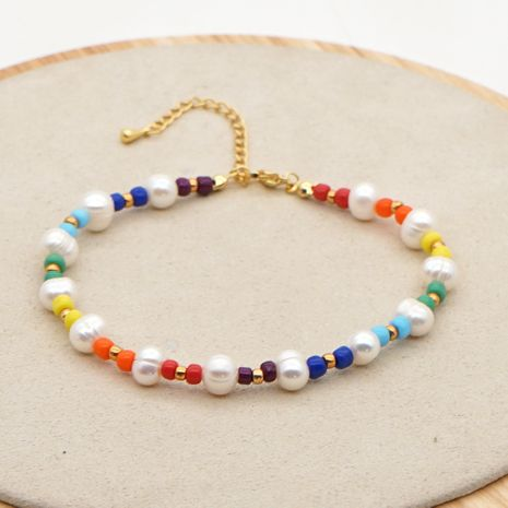 summer wild color rice bead simple creative natural freshwater pearl beach footwear anklet NHGW241872's discount tags