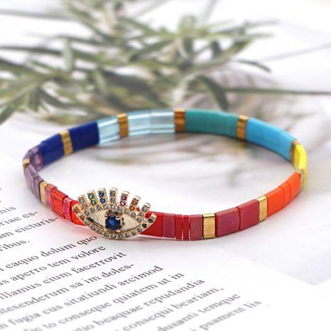 fashion all-match diamond-studded rainbow bead bohemian couple bracelet NHGW241873's discount tags