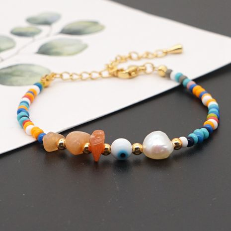 fashion  bohemian rainbow rice beads natural pearl bracelet for women NHGW241874's discount tags