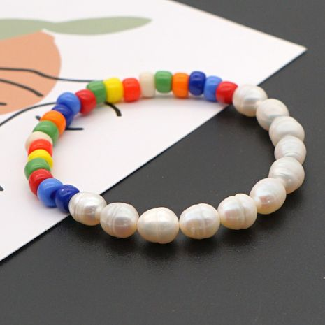 Bohemian style rainbow rice beads fashion wild natural pearl bracelet for women NHGW241882's discount tags