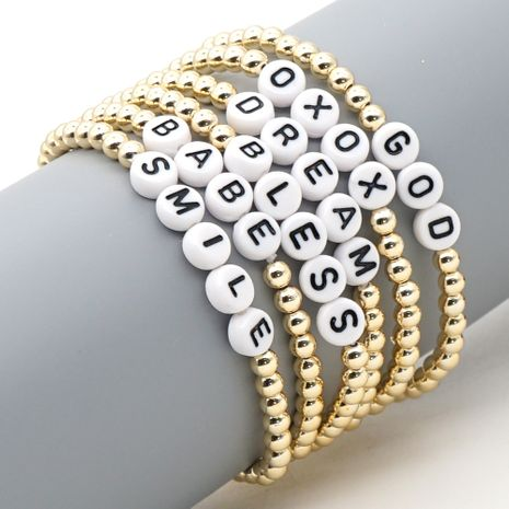 Hot sale simple  color-preserving gold-plated gold beaded ethnic style color letter bracelet  NHGW241883's discount tags
