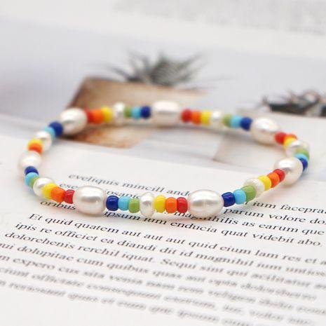 Pulseras de perlas de arroz arcoíris de estilo bohemio pulsera de perlas naturales salvajes de moda para mujer NHGW241885's discount tags