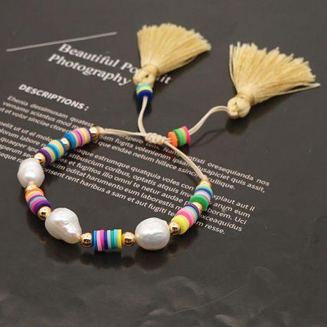 Pulsera de borla con cordón de cerámica suave perla natural de estilo bohemio tejida colorida para mujer NHGW241887's discount tags