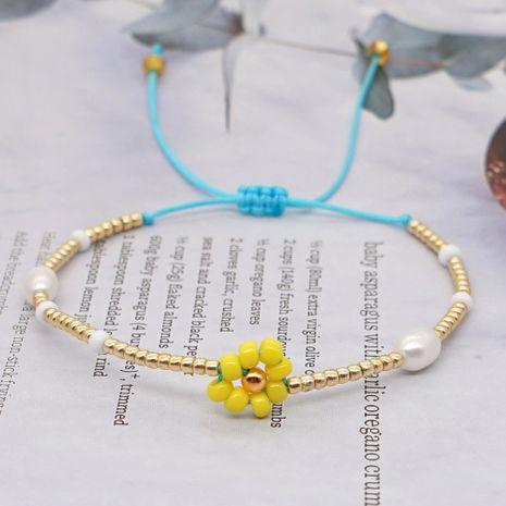 moda perla natural importado granos de arroz pulsera tejida a mano pequeña margarita para las mujeres NHGW241890's discount tags