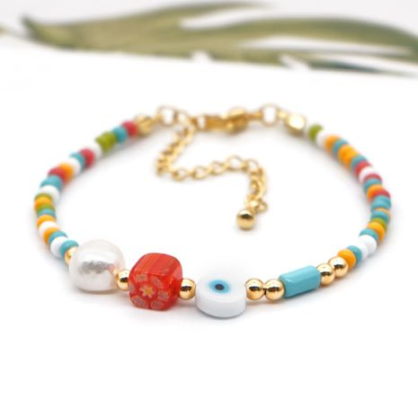 bohemian rainbow rice beads eye natural pearl bracelet for women NHGW241892's discount tags