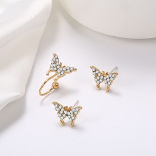 S925 silver needle exquisite diamond-studded butterfly earrings simple ear bone clip wholesale nihaojewelry NHPF241893's discount tags