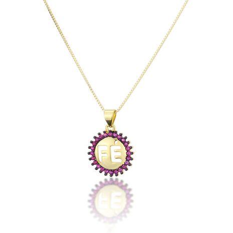 Venta caliente ronda FE collar nuevo cobre plateado fe circón colgante al por mayor nihaojewelry NHBP241897's discount tags