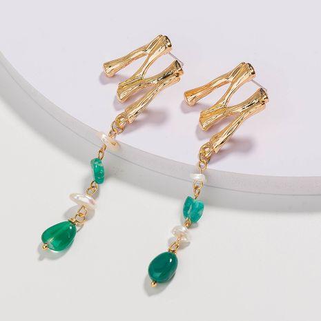boucles d'oreilles alphabet tendance rétro coquilles boucles d'oreilles en pierre naturelle vert foncé en gros nihaojewelry NHAN241910's discount tags