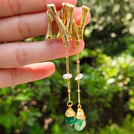 grandes boucles d'oreilles créatives mode 26 lettres boucles d'oreilles tissées à la main boucles d'oreilles en pierre naturelle vert foncé en gros nihaojewelry NHAN241911's discount tags