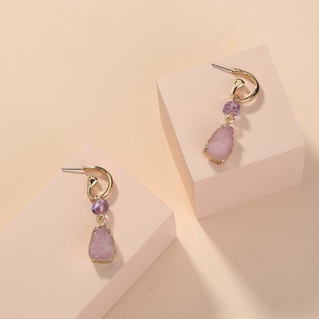new pink  purple edging imitation natural stone  fashion  earrings wholesale nihaojewelry NHAN241925's discount tags