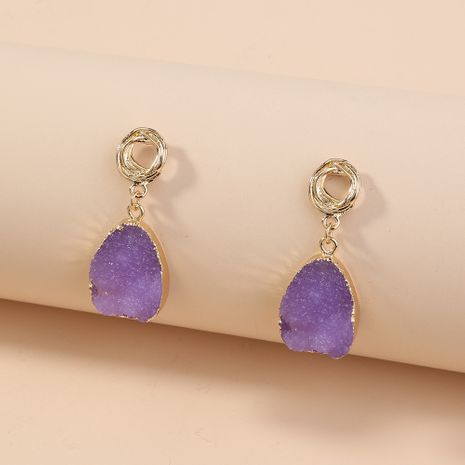 hot-selling simple and versatile imitation natural stone purple drop earrings wholesale nihaojewelry NHAN241930's discount tags