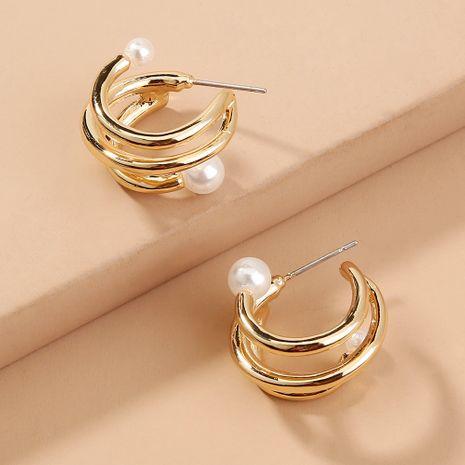 fashion hot sale creative circle baroque pearl C-shaped earrings wholesale nihaojewelry NHAN241941's discount tags