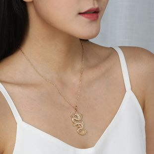 hot-selling fashion trend street hip-hop men and women gold wild dragon totem pendant alloy necklace  NHAN241953's discount tags