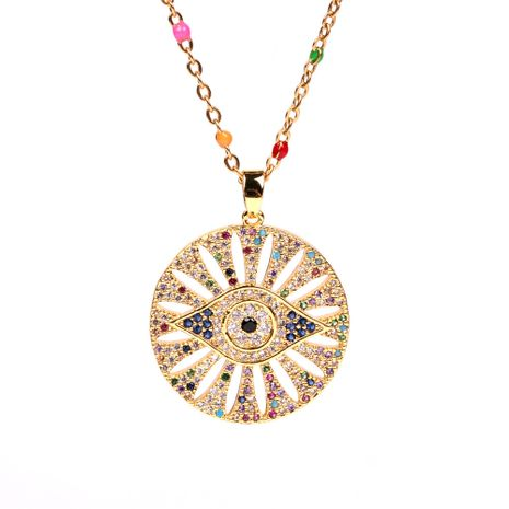 Fashion hot sale micro diamond devil's eye copper round card eye clavicle chain necklaces NHPY241955's discount tags