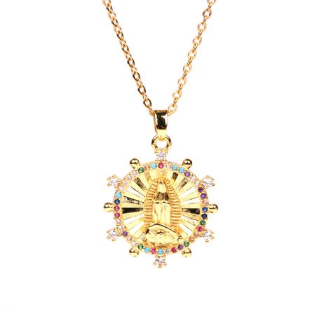 hot sale Virgin Mary pendant exquisite diamond-set religious totem cooper necklace for women NHPY241956's discount tags