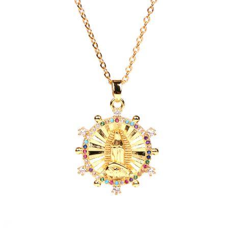 Venta caliente Virgen María colgante exquisito conjunto de diamantes religioso tótem cooper collar para mujer NHPY241956's discount tags