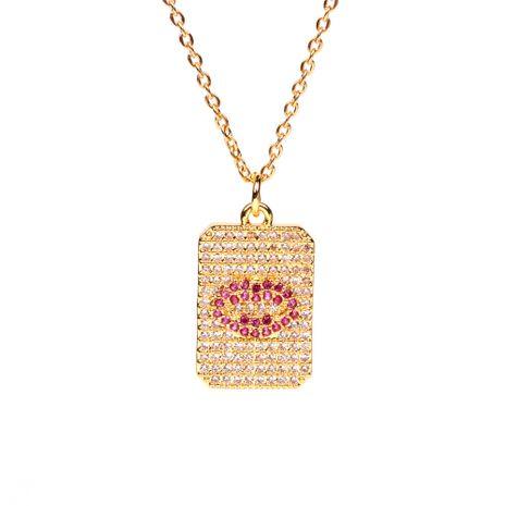 Venta caliente Geométrica Marca Cuadrada Diamante Labio Rojo Corazón Rojo Amor Colgante Collar de Cadena de Clavícula de cobre NHPY241957's discount tags