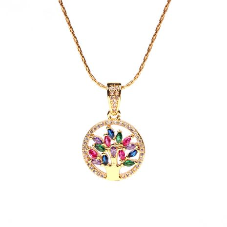 Fashion trend new micro-inlaid color zircon round tree of life copper pendant necklace wholesale NHPY241958's discount tags