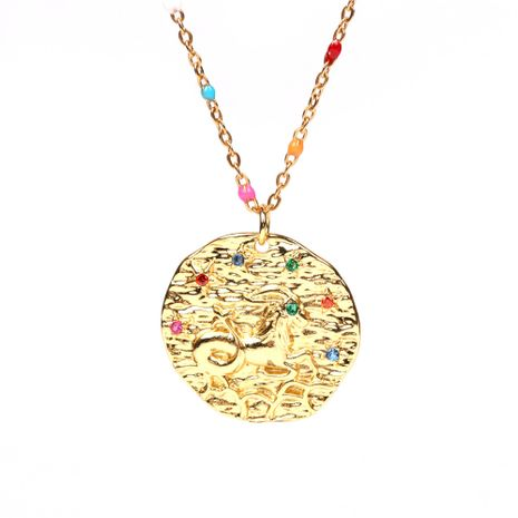 fashion brand baroque gold-plated embossed round medal copper twelve constellation rhinestone pendant necklace NHPY241959's discount tags
