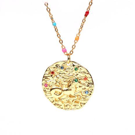 Marca de moda barroco chapado en oro en relieve medalla redonda cobre doce constelación rhinestone colgante collar NHPY241959's discount tags