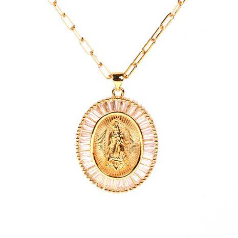 Micro-incrustaciones de micro-incrustaciones de cadena gruesa de cable punk hip-hop collar de la Virgen María NHPY241969's discount tags