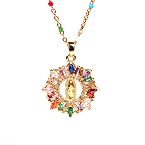 Fashion new micro-inlaid colored diamonds Virgin Mary pendant religious Christian women's necklace  NHPY241972's discount tags