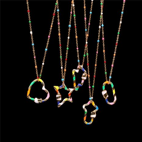 Fashion necklace trend new color dripping hollow geometric pendant necklace clavicle chain wholesale NHPY241973's discount tags