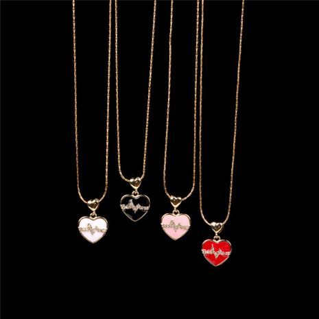 New copper gold-plated oil drop diamond love ECG pendant peach heart love couple heart rate clavicle chain necklace NHPY241974's discount tags