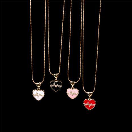 Nuevo cobre chapado en oro gota de aceite diamante amor ECG collar colgante melocotón corazón amor pareja frecuencia cardíaca clavícula cadena NHPY241974's discount tags