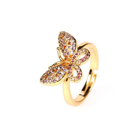 new full of diamond open butterfly ring simple style ring wholesale nihaojewelry NHPY241975's discount tags