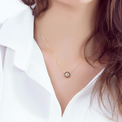 classic zircon simple stainless steel rose gold necklace clavicle chain pendant for women NHTF241977's discount tags