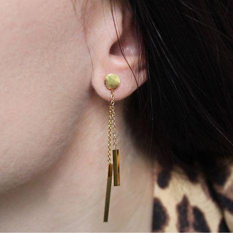 Fashion stainless steel rose gold geometric long strip tassel earrings for women wholesale NHTF241981's discount tags