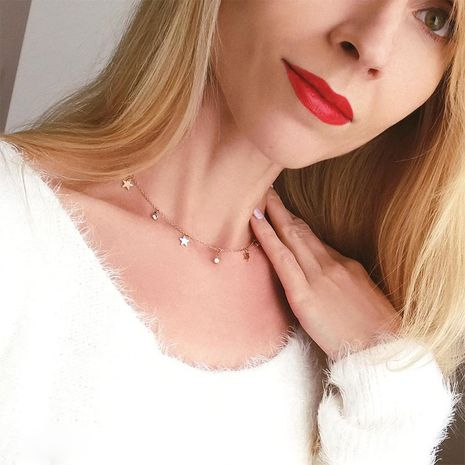 new product star Korean version of zircon simple stainless steel clavicle chain necklace for women NHTF241985's discount tags