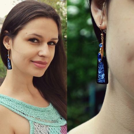 new fashion blue resin alloy diamond long earrings for women NHTF241989's discount tags