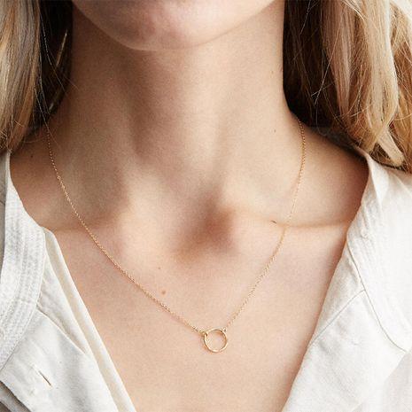 Collar de cadena de clavícula corto colgante redondo geométrico simple de plata 925 para mujeres al por mayor NHTF241995's discount tags