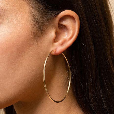 Pendientes de círculo grande brillante simple de venta caliente de acero inoxidable de moda para mujeres NHTF241996's discount tags
