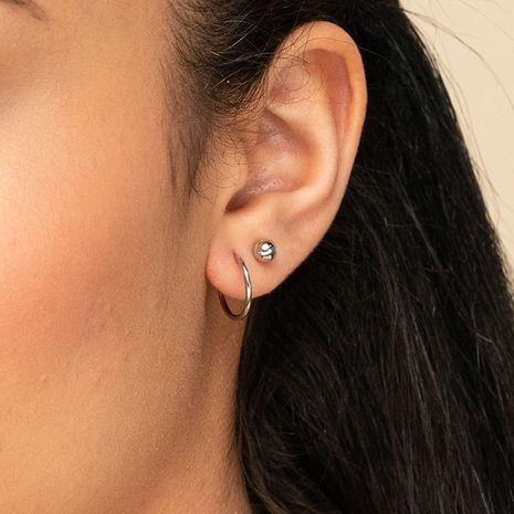 Pendientes esféricos de acero inoxidable simples y exquisitos de moda para mujer NHTF242001's discount tags